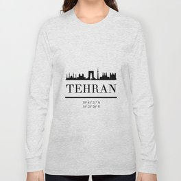 TEHRAN IRAN BLACK SILHOUETTE SKYLINE ART Long Sleeve T-shirt