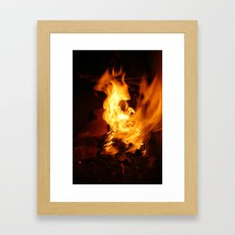 paper on fire and burn Framed Art Print