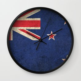 Old and Worn Distressed Vintage Flag of New Zealand Wall Clock
