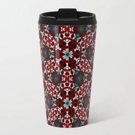 Dark Red and Green Flower Pattern Travel Mug
