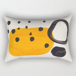 Unique Abstract Unique Mid century Modern Yellow Mustard Black Ring Dots Rectangular Pillow