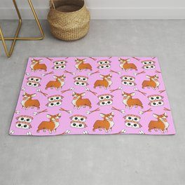 Cute cuddly funny baby corgi dogs, happy cheerful sushi with shrimp on top, rice balls and chopsticks pretty light pastel baby pink pattern design. Rug