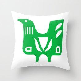 Scandinavian folk art bird Throw Pillow