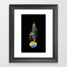 Cactus Cat Space Travel Framed Art Print