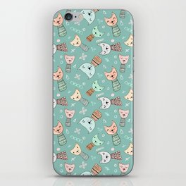 Kokeshi Kitties with Teal Background iPhone Skin