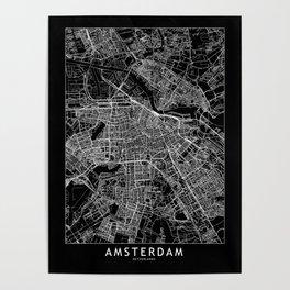 Amsterdam Black Map Poster