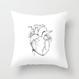 Black and White Anatomical Heart Throw Pillow