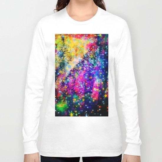 rainbow galaxy with stars Long Sleeve T-shirt