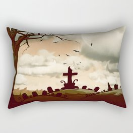 Full Moon Graveyard Sepia Rectangular Pillow