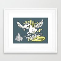 backpack Framed Art Prints featuring Magical Mystery Backpack by Amy Gale