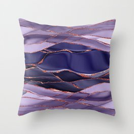 Violet Marble Glamour Landscapes Throw Pillow