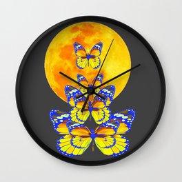 SURREAL BLUE BUTTERFLIES RISING GOLDEN MOON Wall Clock