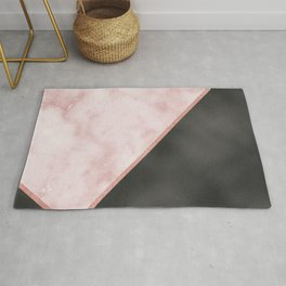 Sivec Rosa marble - black leather Rug