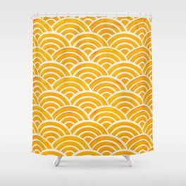 Japanese Seigaiha Wave – Marigold Palette Shower Curtain
