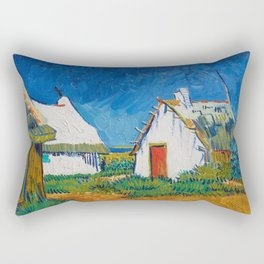 Three white cottages in Saintes-Maries by Vincent van Gogh Rectangular Pillow
