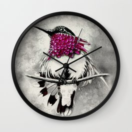 Hummingbird Magenta Black Wall Clock