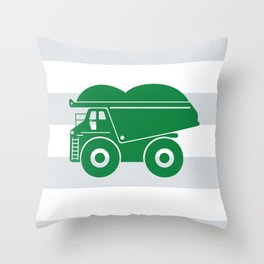 Green Dump Truck Throw Pillow