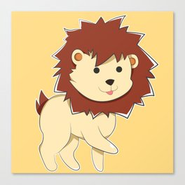 Happy Cartoon Baby Lion Canvas Print