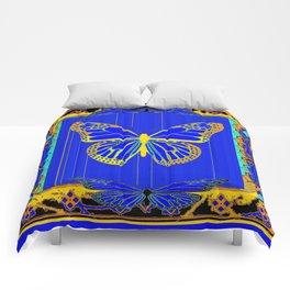 Lapis Blue & Gold Monarch Western Art design Comforters