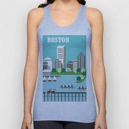Boston, Massachusetts - Skyline Illustration by Loose Petals Unisex Tank Top