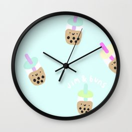 Blue Boba Milk Tea Wall Clock