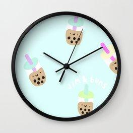 Blue Boba Milk Tea Wall Clock