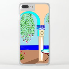 A Mediterranean Garden with Fountain Clear iPhone Case