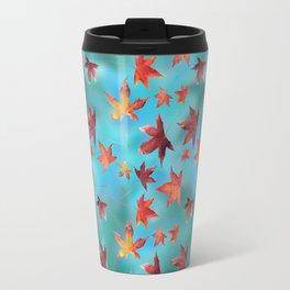 Dead Leaves over Cyan Travel Mug