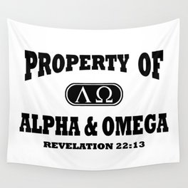 Property of Alpha and Omega (Black) Wall Tapestry