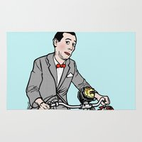 pee wee Area & Throw Rugs featuring Pee Wee Herman by Michael Scarano