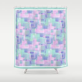 Abstraction. Pink and blue brush strokes. Shower Curtain