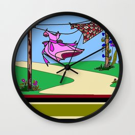 Homestead Clothesline in the Country Wall Clock