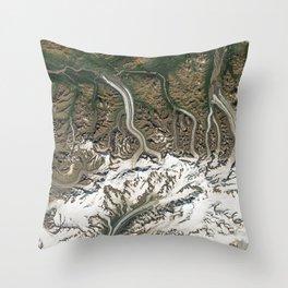 Chugach Mountains Glaciers, Alaska Throw Pillow