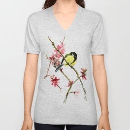 Great Tit and Spring Blossom, Yellow Pink Birds and Flowers Unisex V-Neck