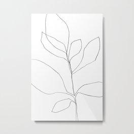 Seven Leaf Plant - Minimalist Botanical Line Drawing Metal Print