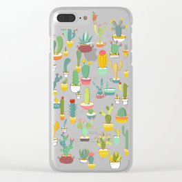 Cactuses in Pots Clear iPhone Case