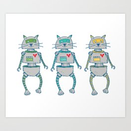 The Cat-Bot Trio Art Print
