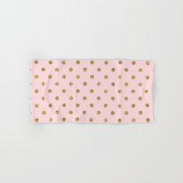 Pink & Gold Glitter Polka Dots Hand & Bath Towel