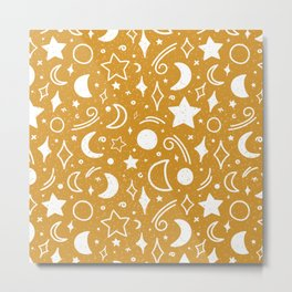 Galaxy sky pattern with moons and stars mustard yellow color Metal Print
