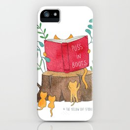 Cats reading in the forest - Puss in Boots - Watercolor illustration iPhone Case
