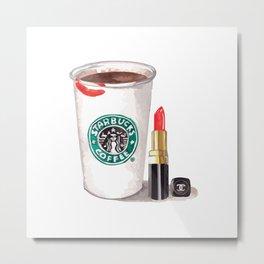 Starbucks ans lipstick Metal Print