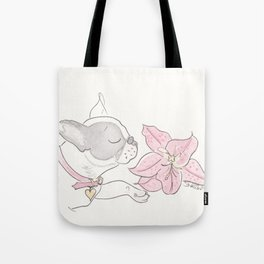 Pretty French Bulldog and the Pink Lily Tote Bag
