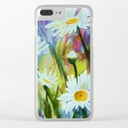 DANCING DAISIES in WATERCOLORS Clear iPhone Case