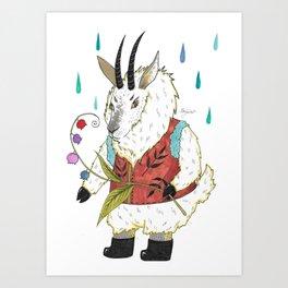Goat handling the flowers Art Print