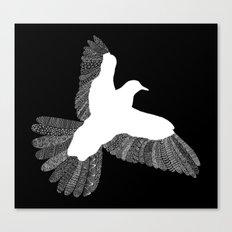 Bird (On Black) Canvas Print