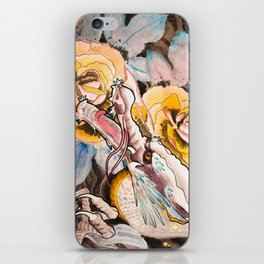 Water Color Dragon and Peonies iPhone Skin