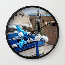 Boat at the seaside Wall Clock