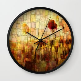 Poppies in the Sun Mosaic Wall Clock
