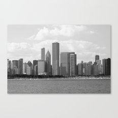 Chicago Skyline Black and White Canvas Print