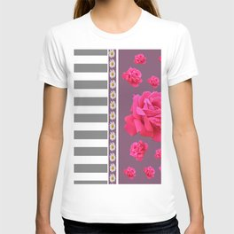 MODERN  PINK ROSES ON PUCE COLOR ART T-shirt